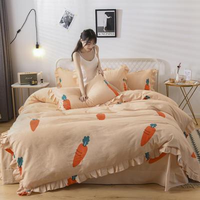 2019新款-全棉磨毛四件套 床裙款被套加大1.8m(6英尺)床 快乐萝卜-黄