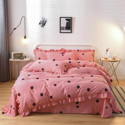 2019新款-全棉磨毛四件套 床单款1.5m(5英尺)床 洛维莎-粉