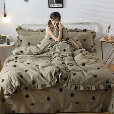 2019新款-全棉磨毛四件套 床裙款被套加大1.8m(6英尺)床 洛维莎-黄