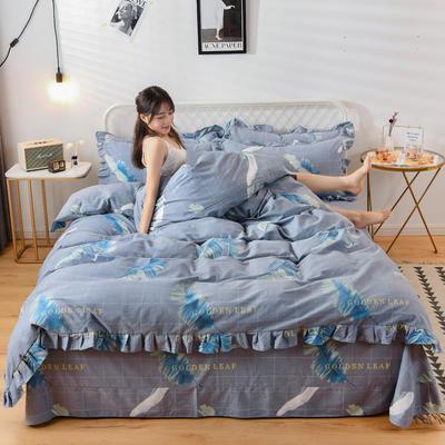 2019新款-全棉磨毛四件套 床单款1.5m(5英尺)床 挪威森林-灰