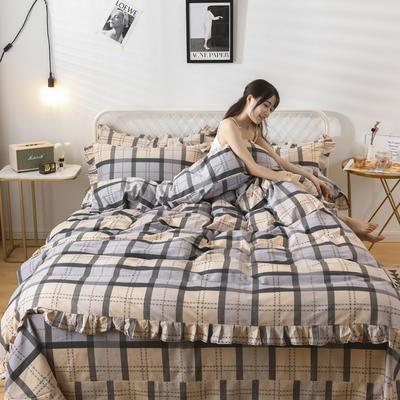 2019新款-全棉磨毛四件套 床裙款被套加大1.8m(6英尺)床 思念