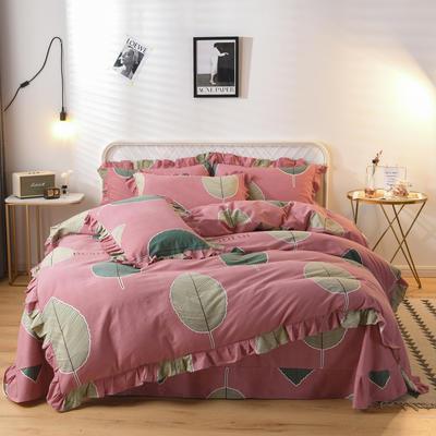 2019新款-全棉磨毛四件套 床裙款被套加大1.8m(6英尺)床 维曼花叶-粉