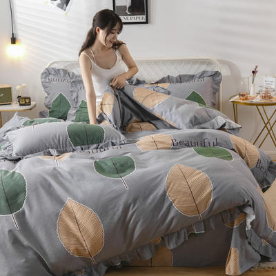 2019新款-全棉磨毛四件套 床单款1.5m(5英尺)床 维曼花叶-灰