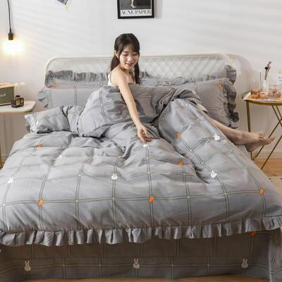 2019新款-全棉磨毛四件套 床裙款被套加大1.8m(6英尺)床 小兔乖乖-灰