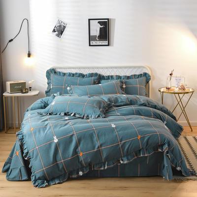 2019新款-全棉磨毛四件套 床裙款被套加大1.8m(6英尺)床 小兔乖乖-蓝