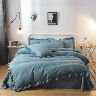 2019新款-全棉磨毛四件套 床裙款被套加大1.8m(6英尺)床 最佳主角-蓝