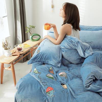 2019新款-宝宝绒四件套 床单款1.8m(6英尺)床 如鱼得水 蓝色