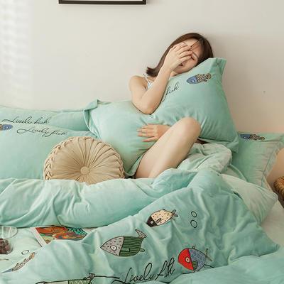 2019新款-宝宝绒四件套 床单款1.8m(6英尺)床 如鱼得水 浅绿