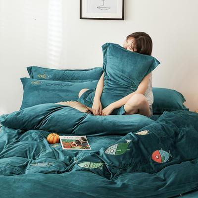 2019新款-宝宝绒四件套 床单款1.8m(6英尺)床 如鱼得水 深墨绿