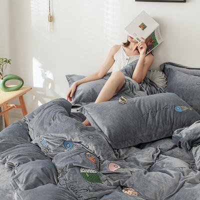 2019新款-宝宝绒四件套 床单款1.8m(6英尺)床 如鱼得水 太空灰