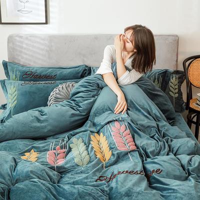 2019新款-宝宝绒四件套 床单款1.8m(6英尺)床 穗穗丰收 宝兰