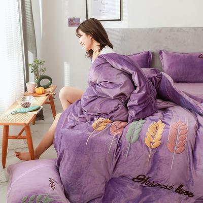 2019新款-宝宝绒四件套 床单款1.8m(6英尺)床 穗穗丰收 丁香紫