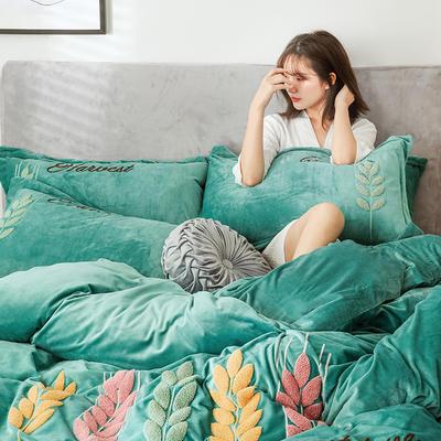2019新款-宝宝绒四件套 床单款1.8m(6英尺)床 穗穗丰收 墨绿