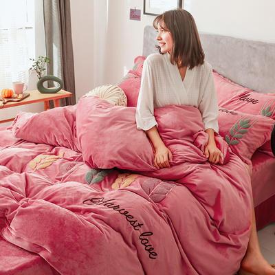 2019新款-宝宝绒四件套 床单款1.8m(6英尺)床 穗穗丰收 浅豆沙