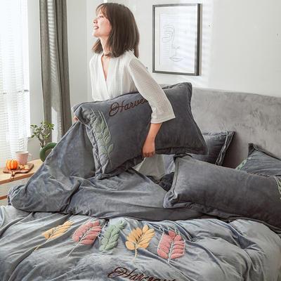 2019新款-宝宝绒四件套 床单款1.8m(6英尺)床 穗穗丰收 太空灰