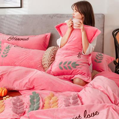 2019新款-宝宝绒四件套 床单款1.8m(6英尺)床 穗穗丰收 西瓜红