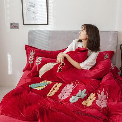 2019新款-宝宝绒四件套 床单款1.8m(6英尺)床 穗穗丰收 枣红