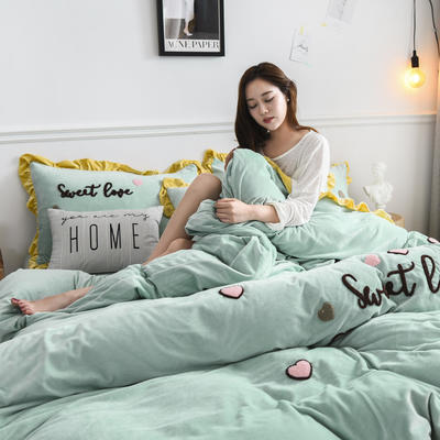 2019新款-宝宝绒四件套 床单款1.8m(6英尺)床 甜心coco-豆绿