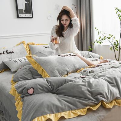 2019新款-宝宝绒四件套 床单款1.8m(6英尺)床 甜心coco-灰色