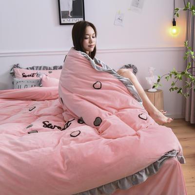 2019新款-宝宝绒四件套 床单款1.8m(6英尺)床 甜心coco-玉色