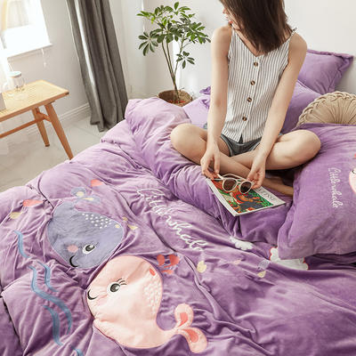 2019新款-宝宝绒四件套 床单款1.8m(6英尺)床 相亲相爱 丁香紫