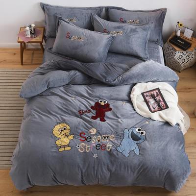 2019新款-宝宝绒四件套 床单款2.0m(6.6英尺)床 芝麻街太空灰