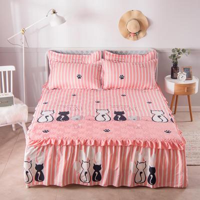 2021新款-芦荟棉夹棉单床裙 150cmx200cm 好奇猫