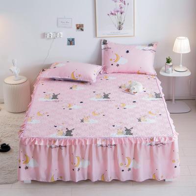 2021新款-芦荟棉夹棉单床裙 150cmx200cm 星月兔