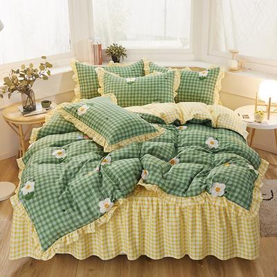 2020新款-加厚植物羊绒韩版床裙款四件套 1.2m花边床单款三件套 活力青春-绿