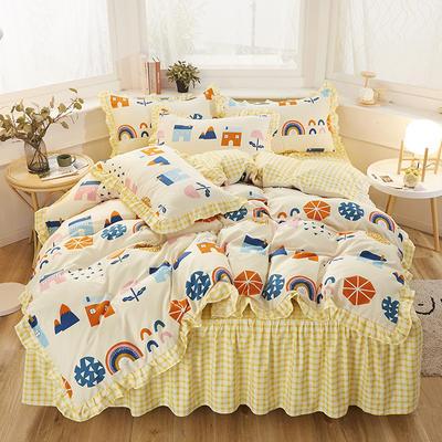 2020新款-加厚植物羊绒韩版床裙款四件套 1.2m花边床单款三件套 宁夏-黄
