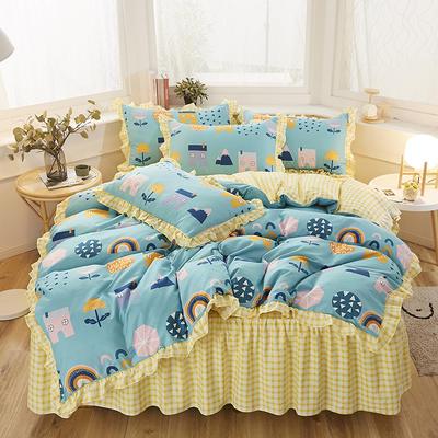 2020新款-加厚植物羊绒韩版床裙款四件套 1.2m花边床单款三件套 宁夏-绿