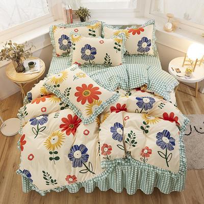 2020新款-加厚植物羊绒韩版床裙款四件套 1.2m花边床单款三件套 汐颜