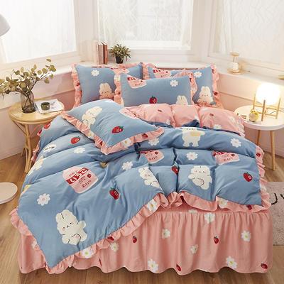 2020新款-加厚植物羊绒韩版床裙款四件套 1.2m花边床单款三件套 阳光心情
