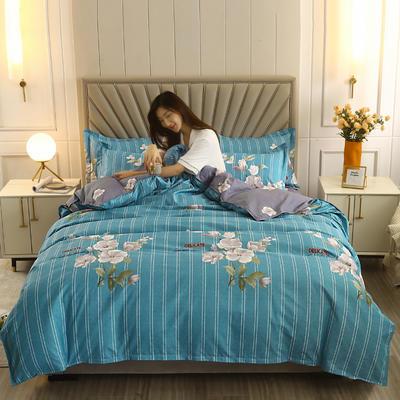2021新款-植物羊绒四件套 1.5m床单款四件套 希香-蓝