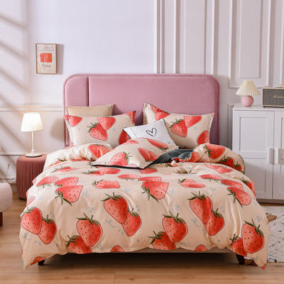 2021新款-芦荟棉四件套 1.5m床四件套 草莓派对