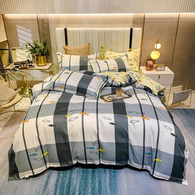 2021新款-植物羊绒四件套 1.5m床单款四件套 鱼群