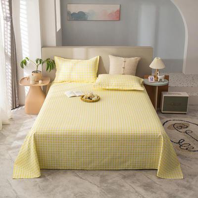 2021新款植物羊绒单床单 120*225cm 黄格