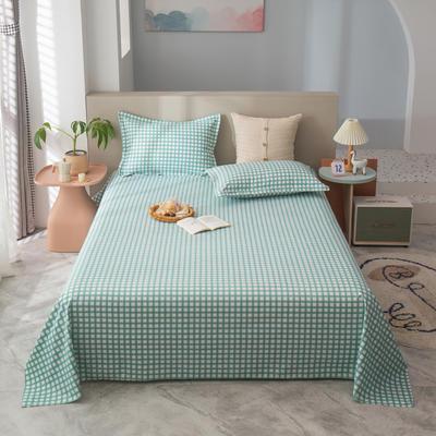 2021新款植物羊绒单床单 120*225cm 绿格
