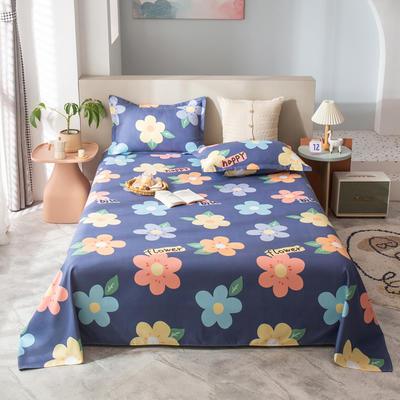 2021新款植物羊绒单床单 120*225cm 幸福花开-蓝