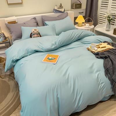 2021新款亲肤磨毛撞色纯色四件套 1.5m床单款四件套 蓝灰