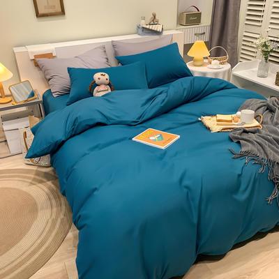 2021新款亲肤磨毛撞色纯色四件套 1.5m床单款四件套 蓝色