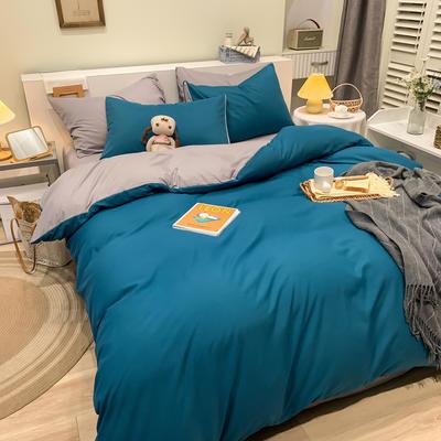 2021新款亲肤磨毛撞色纯色四件套 1.5m床单款四件套 蓝色+灰驼