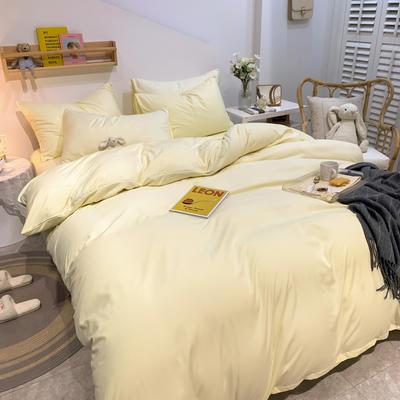 2021新款亲肤磨毛撞色纯色四件套 1.5m床单款四件套 奶黄