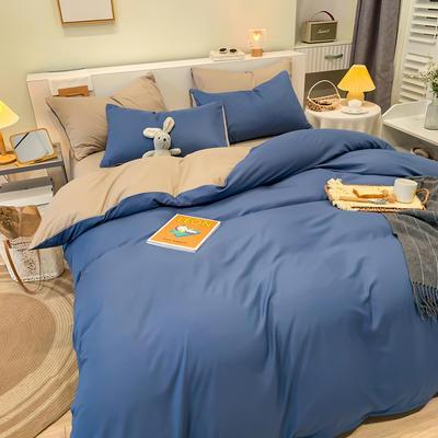 2021新款亲肤磨毛撞色纯色四件套 1.5m床单款四件套 牛仔蓝+灰驼