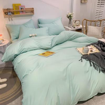 2021新款亲肤磨毛撞色纯色四件套 1.5m床单款四件套 青绿