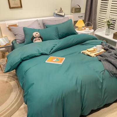 2021新款亲肤磨毛撞色纯色四件套 1.5m床单款四件套 时尚绿