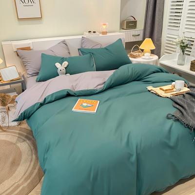 2021新款亲肤磨毛撞色纯色四件套 1.5m床单款四件套 时尚绿+浅灰