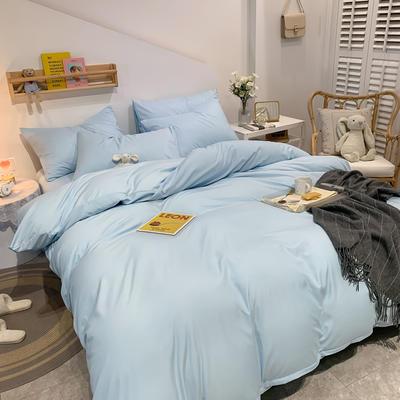 2021新款亲肤磨毛撞色纯色四件套 1.5m床单款四件套 天蓝