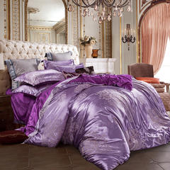 皇居家纺 天鹅绒提花四件套 1.5m-1.8m床 花颜-雪紫
