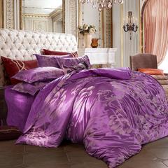 皇居家纺 天鹅绒提花四件套 1.2m床 翩然乐舞-红雪青